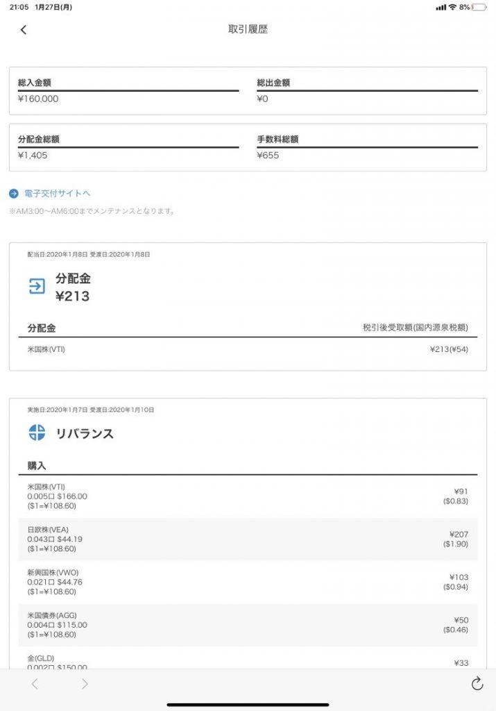 WealthNavi - 取引履歴